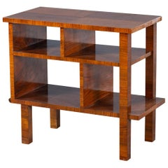 Art Deco Vintage French Walnut Table Shelves circa 1930