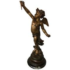 Late 19th Century Patinated Bronze Figure Winged Cherub Signed on Base
