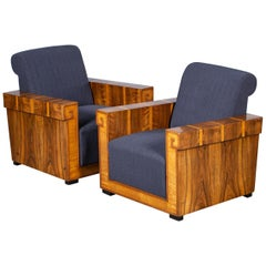 Pair of French Art Deco Walnut Maple Birch Armchairs, circa 1930