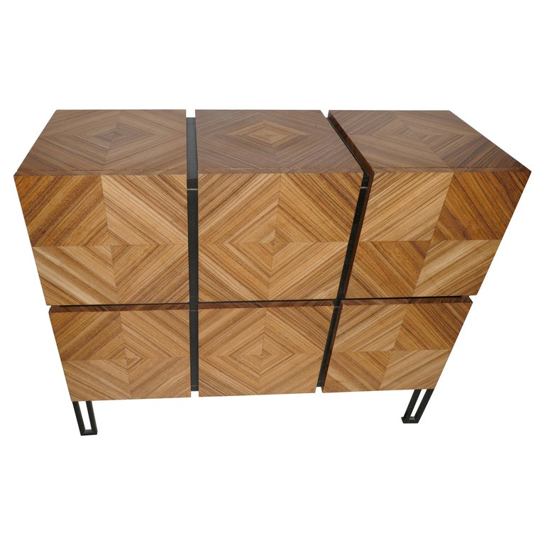 """Chest of Drawers """"Losange"""" in Zebrano Open Is Tow Drawers For Sale"""