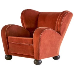 Märta Blomstedt Armchair in Mohair Designed for Hotel Aulanko, Finland, 1939