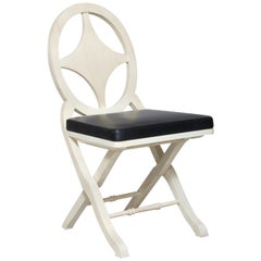 Pinto Paris Madeira Folding Chair White with Black Cushion, Made in France
