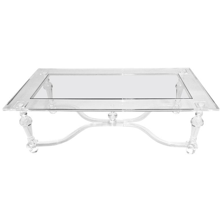Acrylic Coffee  Cocktail Table with Turned Legs, In Stock For Sale