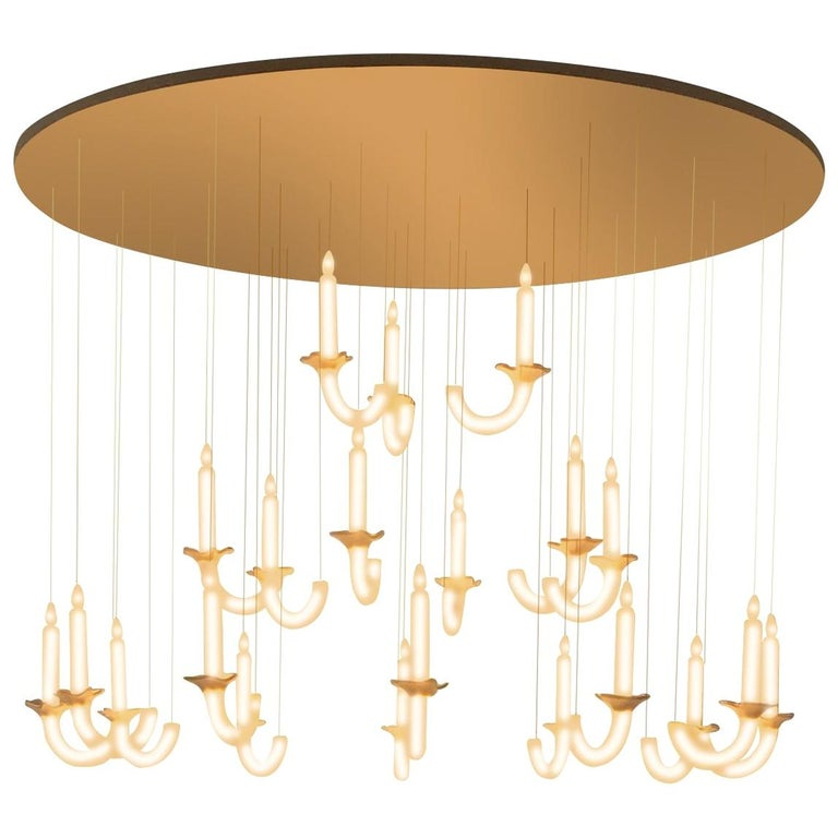 """Contemporary """"Wersailles 21"""" Chandelier in Handmade Limoges Porcelain For Sale"""