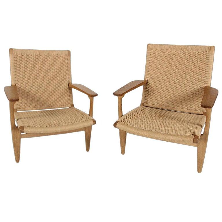 Pair of Original CH25 Chairs  by Hans J. Wegner for Carl Hansen & Son