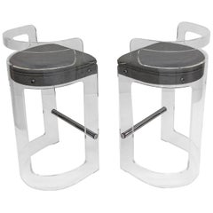 Pair of Lucite and Chrome Barstools by Hill Manufacturing Co.