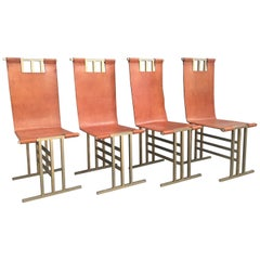 Elegant Brass and Leather Chairs