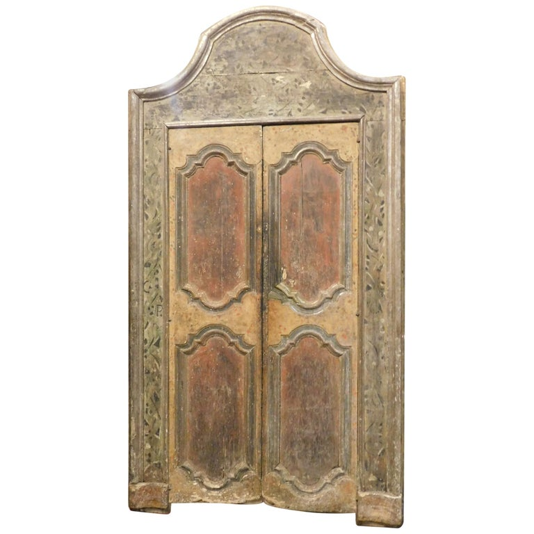18th Century Antique Lacquered Door with Frame