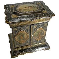 Magnificent English Papier Mâché Jewellery Cabinet / Box, circa 1860, Dogs