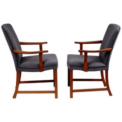 Midcentury Scandinavian Modern Alf Sture Armchairs Teak and Wool Norway, 1950