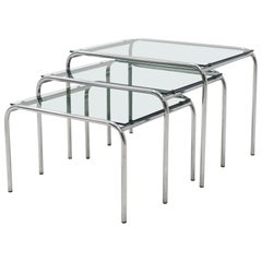 Set of Gispen Style Glass and Chrome Nesting Tables, 1960s
