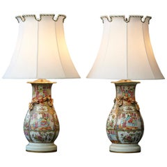 Late 19th Century Pair of Hand Painted Chinese Porcelain Vase Style Table Lamps