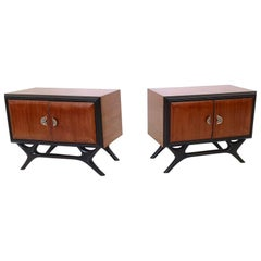 Pair of Walnut and Ebonized Wood Nightstands with Painted Handles, Italy, 1950s