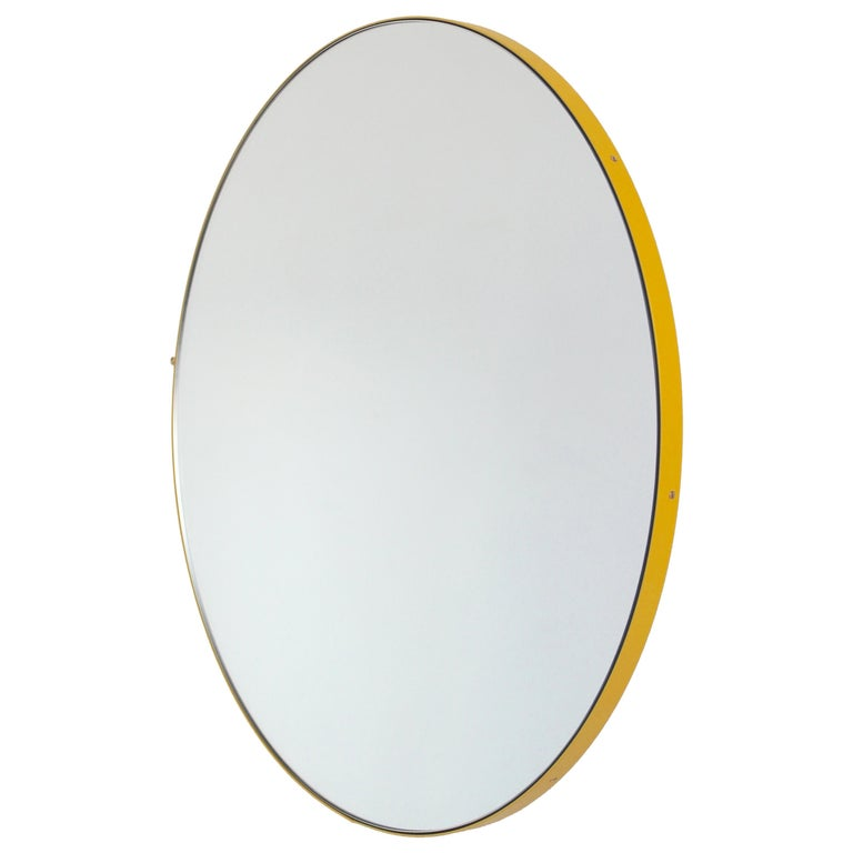 "Silver Orbis Round Mirror with Yellow Frame 40cm/15.8"" For Sale"