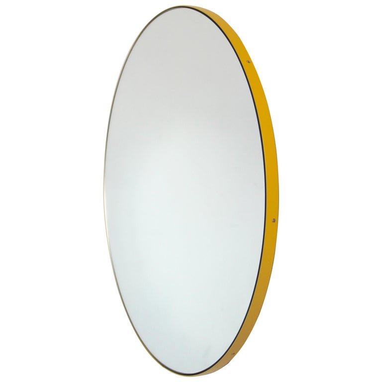 """Silver Orbis Round Mirror with Yellow Frame 50cm/19.7"""" For Sale"""