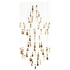 """Contemporary """"Double Louis 15 Or"""" Chandelier in Handmade Limoges Porcelain"""