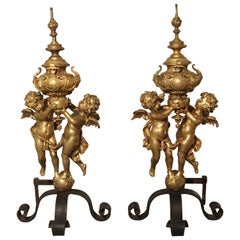 Pair of Large Antique Bronze Doré Andirons from France, circa 1860