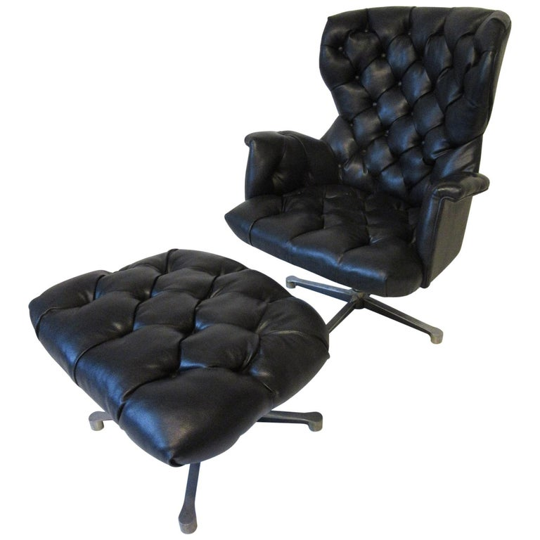 1960s-1970s Black Tufted Lounge Chair with Ottoman For Sale