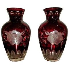 Pair of Czech Bohemian Ruby Glass Cut to Clear Vases