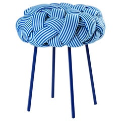 """Cloud"" Contemporary Small Stool with Handwoven Blue Upholstery"