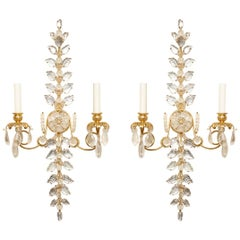 Pair of Laurel Branch Rock Crystal Sconces