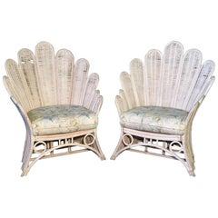 Pair of Rattan Wicker Peacock Fan Back Armchairs