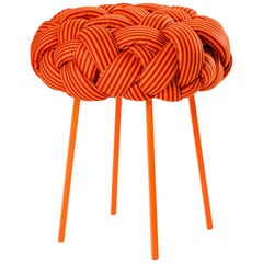 """Cloud"" Contemporary Small Stool with Handwoven Orange Upholstery"