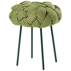 """Cloud"" Contemporary Small Stool with Handwoven Green Upholstery"