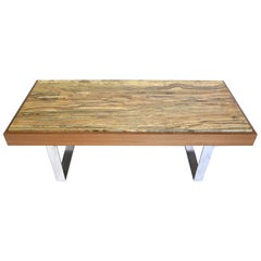 Ilse Möbel Coffee Table with Rare 'Onyx Travertine', Teak & Chrome from Germany