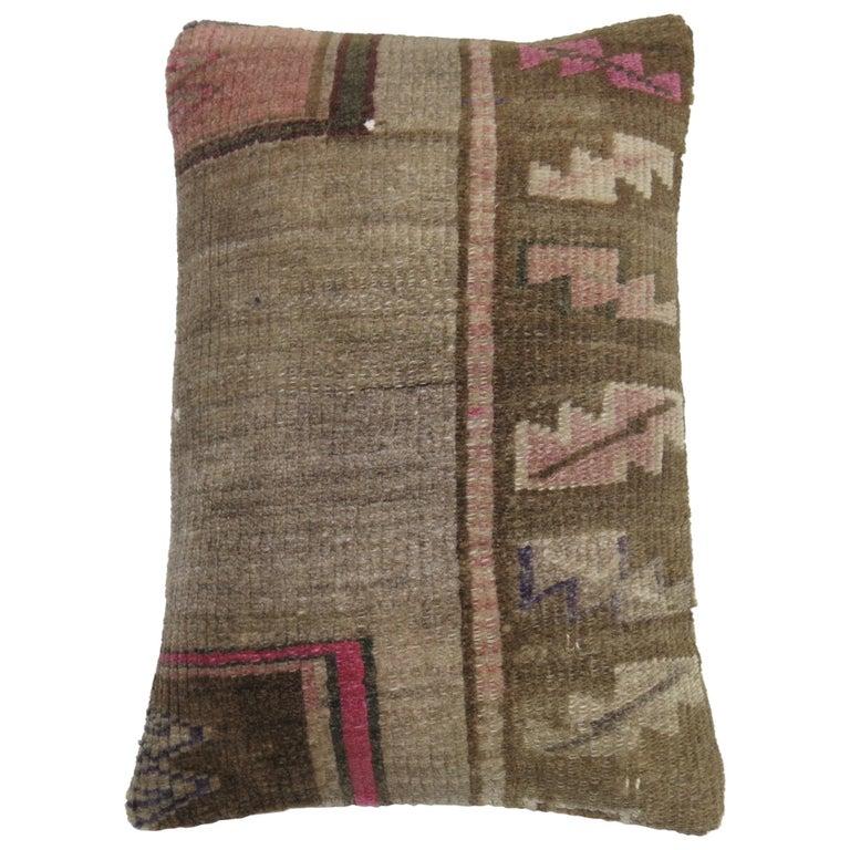 Vintage Turkish Kars Lumbar Rug Pillow