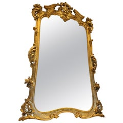 Monumental 19th Century Louis XV Style Gilt Pier Mirror