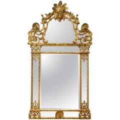 Period Early 18th Century French Regence Gilt Mirror