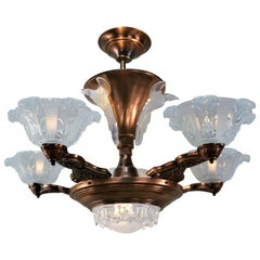 French Copper and Opalescent Glass Chandelier by Ezan