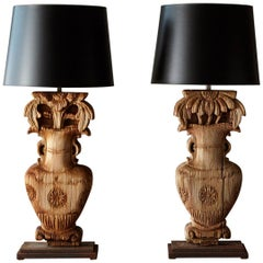 Unique Pair of Custom Table Lamps Made from Antique Chinese House Columns, 1850s
