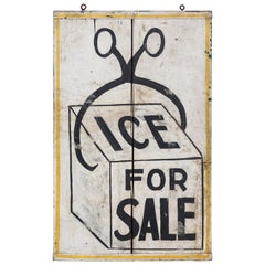 Double Sided General Store Wood and Ice Trade Sign