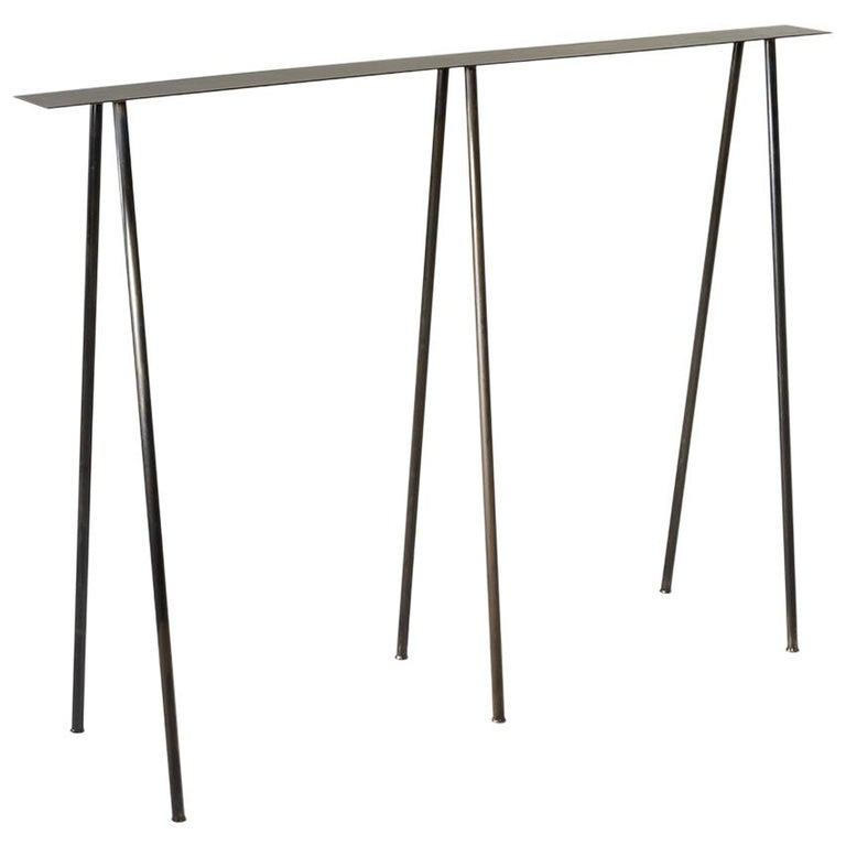 Paper Table S in Stained Black Steel Finish by UMÉ Studio