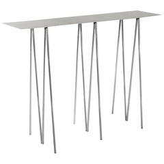 Paper Table L in Polished Steel Finish by UMÉ Studio