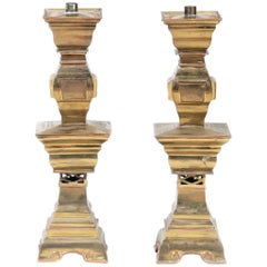 20th Century Brass Altar Candle Forms in the Style of James Mont