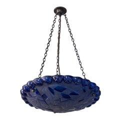 Art Deco Style Glass Dish-Shaped Pendant Light Blue Glass-Paint Finish