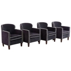 Set of Four Art Deco Style Velvet Club Chairs