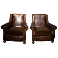 Pair of Art Deco Leather Chairs with Alpaca Velvet Seats