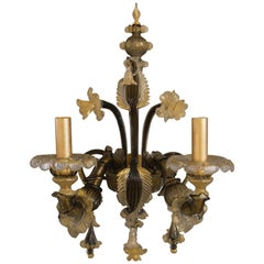 Pair of Black and Gold Murano Sconces