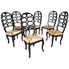 Set of Six Loop Back Dining Chairs in the Manner of Frances Elkins