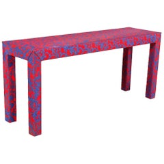 Post-Modern Vintage Modern Red and Blue Upholstered Jacobean Coral Table