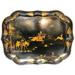 Late 19th Century Cartouche Shaped Chinoiserie Lacquer Tray