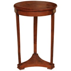Austrian Biedermeier Round Walnut Side Table with Bronze Rosettes, circa 1840