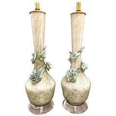Murano Flower Lamps, Pair