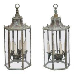 Pair of English 1920s Bronze, Copper and Glass Six-Light Hexagonal Lanterns