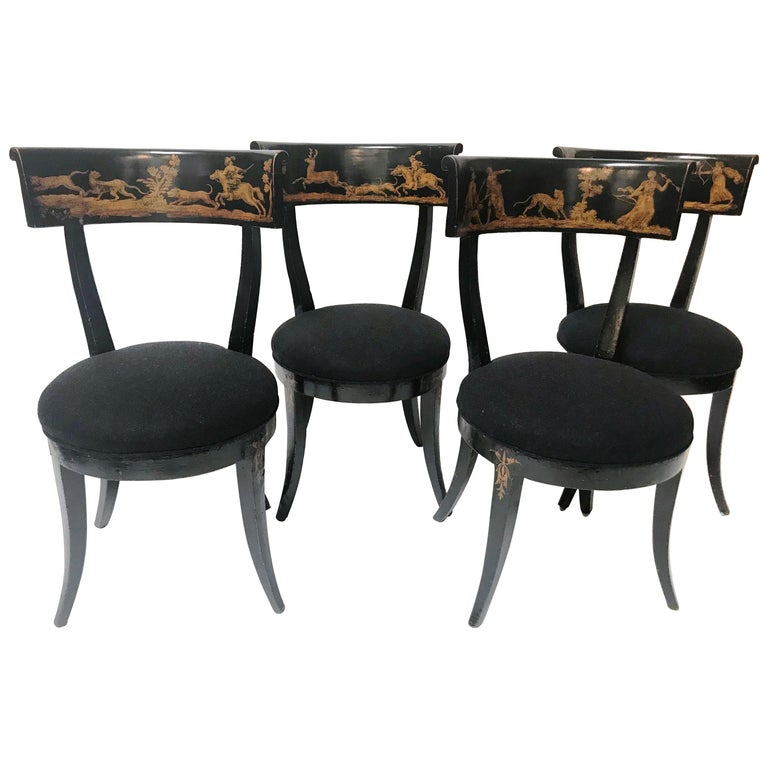Late 18th Century Set of 4 Florentine Directoire Black Lacquer Saber Leg Chairs For Sale
