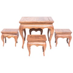 Set of Miniature Chinese Tea Table and Four Stools